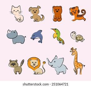 cartoon animals set of colored vector illustrations