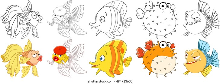 Kissing Gourame Fish Coloring Pages - Download & Print Online ... | 280x728