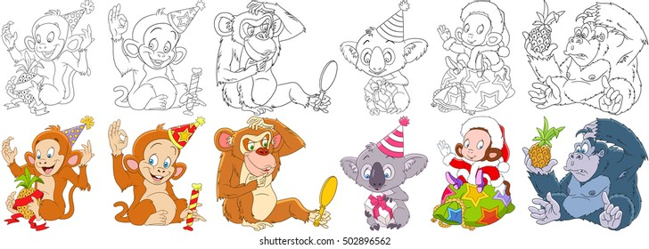 Cartoon animals set. New year collection. Monkey, ape, chimpanzee, gorilla, chimp, orangutan, macaque, koala bear with christmas gifts. Coloring book pages for kids.