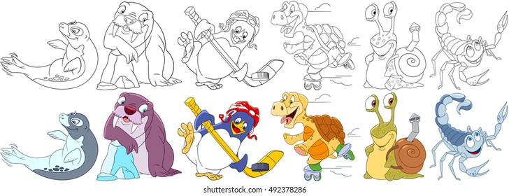 Cartoon animals set. Sea lion (seal), walrus, penguin hockey player, turtle roller skating, snail with a backpack shell, scorpio. Coloring book pages for kids.
