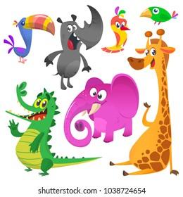 Cartoon animals set. Vector set of animal icons isolated on white. Vector illustration of crocodile, toucan, rhino, giraffe, elephant and hummingbird