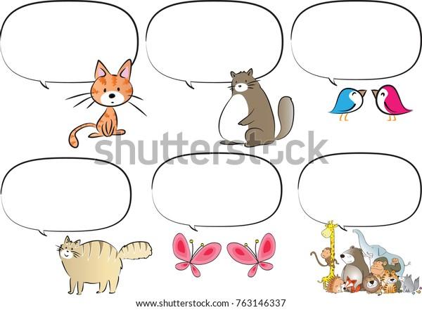 Cartoon Animals Talk Blank Speech Bubble Stock Vector