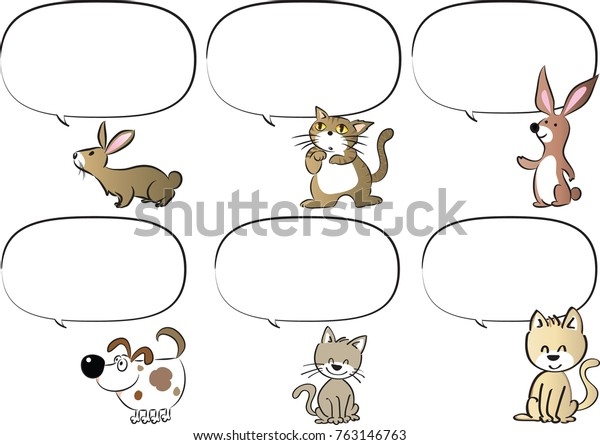Cartoon Animals Talk Blank Speech Bubble Stock Vector (Royalty Free