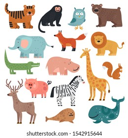 Cartoon animals. Tiger, monkey and bear, elephant and lion, crocodile and deer, hare forest and tropical cute animal vector set