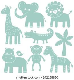 Cartoon animals vector set