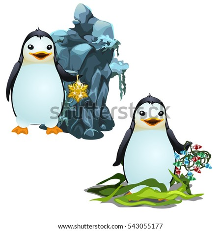 Cartoon Animated Cute Penguins Christmas Gifts Stock Vector (Royalty ...