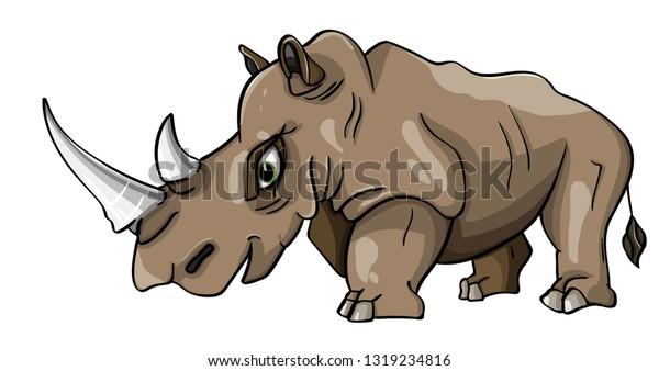 Cartoon animated rhino vector character