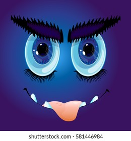 Cartoon anime monster face with big eyebrows, sharp teeth and sticking out tongue. Vector Illustration