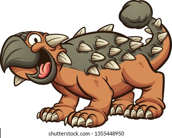 Cartoon ankylosaurus dinosaur clip art. Vector illustration with simple gradients. All in a single layer.