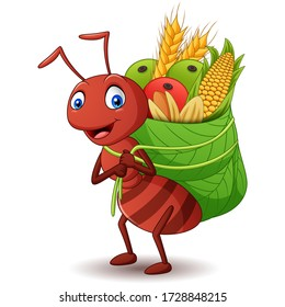 Cartoon ant carrying food with a leaf basket. Vector illustration