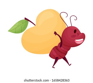 Cartoon Ant Character Carrying Huge Apple on Its Back Isolated on White Background Vector Illustration