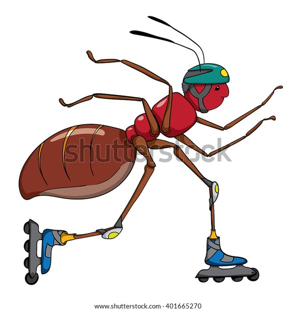 Cartoon Ant On Rollerblades Stock Vector Royalty Free 401665270