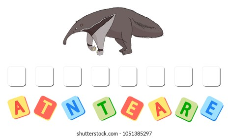 Cartoon anteater crossword. Put the letters in the correct order