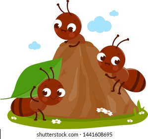 Cartoon ants in ant hill carrying food into their nest. Vector illustration
