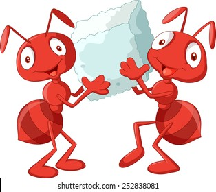 Cartoon ants holding sugar