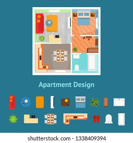 Cartoon Apartment Floor Plan Top View and Elements Card Poster Living Rooms Concept Flat Design Style. Vector illustration of Floorplan