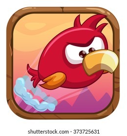 Cartoon app icon with funny flying bird, vector gui asset