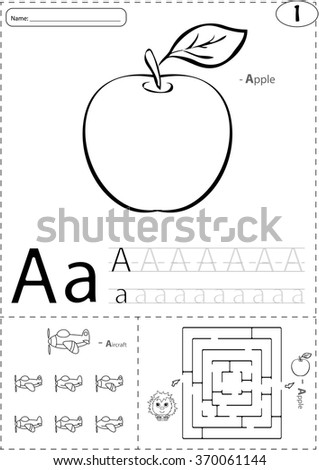 Cartoon Apple Aircraft Alphabet Tracing Worksheet Stock Vector ...