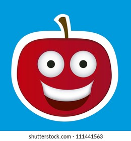 Cartoon apple with big eyes and big smile, vector illustration