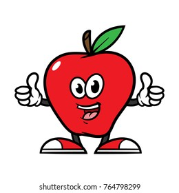 Cartoon Apple Character Giving Thumbs Up