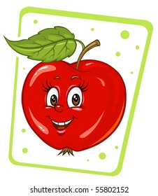 Cartoon Apple - Clip Art Illustration