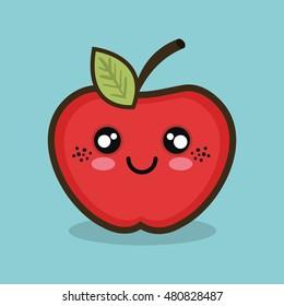 cartoon apple fruit design