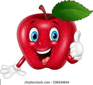 Cartoon apple giving thumbs up