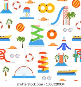 Cartoon Aquapark Playground Seamless Pattern Background on a White Summer Fun Amusement Concept Flat Design Style. Vector illustration of Outdoor Aqua Recreation
