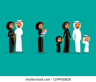 Cartoon arab family characters set. Happy saudi, emirates muslim couple, man, woman