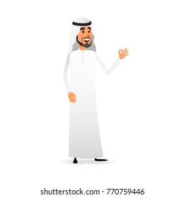 Cartoon arab man. Arabic businessman flat character. Arabian muslim entrepreneur in traditional national costume