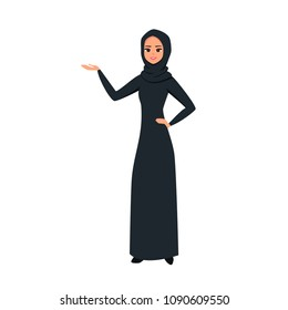 Cartoon Arab woman character with black hijab. Smiling girl in hijab presenting something with one hand. Young Moslem businesswoman wearing scarf. Vector illustration isolated from white