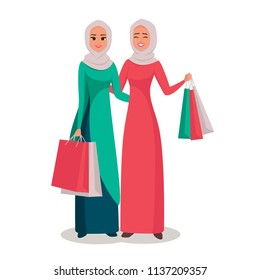 Cartoon Arab women character with hijab. Smiling Persian  girls in hijab presenting shopping bags. Young Moslem ladies shopping wearing scarf. Vector illustration isolated from white
