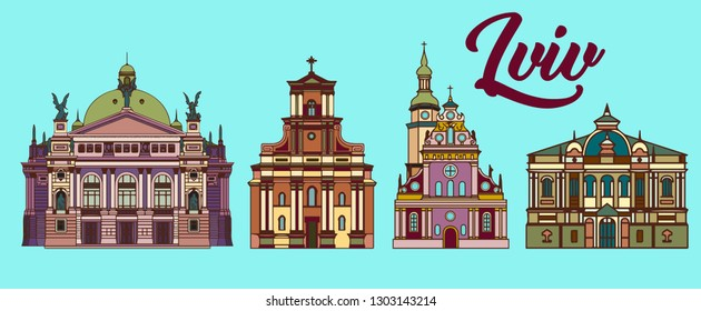 cartoon architecture of Lviv. vector set of illustrations for prints, web, pattern
