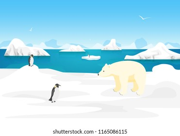 Cartoon Arctic Ice Landscape Outdoor Scene North Concept Element Flat Design Style. Vector illustration of Polar Nature
