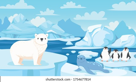 Cartoon arctic landscape with animals. White bears, seal and penguins on drifting and melting glacier in ocean, snow mountains iceberg polar winter season cartoon vector illustration.