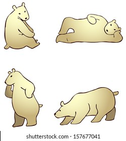 Cartoon arctic polar bear animal in different action and expression icon set, create by vector