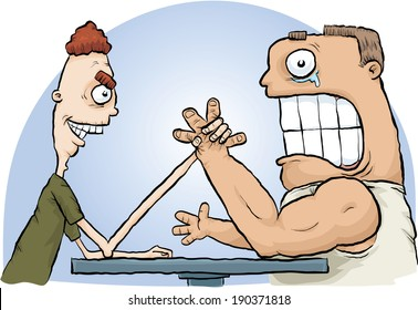 A cartoon arm wrestling match with the thin man defeating the muscular man.
