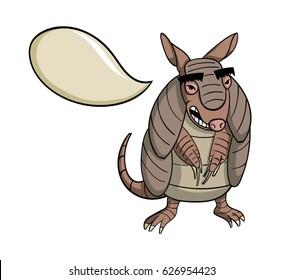 Cartoon armadillo with a speech bubble