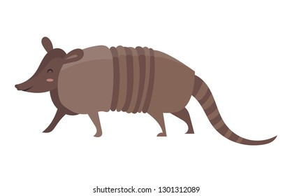 Cartoon armadillo.Vector illustration of an armadillo. Drawing animal for children. Zoo for kids.