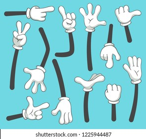 Cartoon arms. Doodle gloved pointing hands, different human point arm, comic parts in gloves or outline armed finger hand gestures in glove. Vintage vector isolated illustration icons set