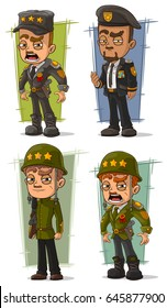 Cartoon army general and soldier with weapon character vector set