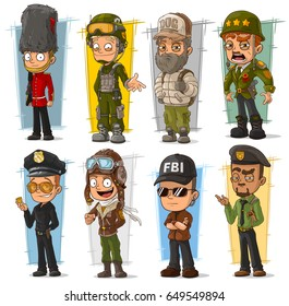 Cartoon army soldier policeman secret agent and pilot character vector set