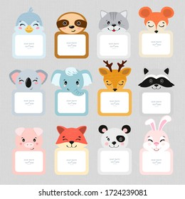 Cartoon Art Style. Decorative head animal vector template frames. Those photo frames you can use for kids picture, funny photos, notes, card and memories. Scrapbook design concept. Insert your picture
