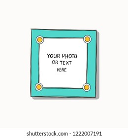 Cartoon Art Styles. Decorative comic vector template frame. This photo frame you can use for kids picture, funny photos, card and memories. Scrapbook design concept. Insert your picture.