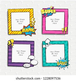 Cartoon Art Styles. Decorative comic vector template frames. Those photo frames you can use for kids picture, funny photos, card and memories. Scrapbook design concept. Insert your picture.