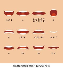 Cartoon articulation set. Mouth speak expression vector illustration