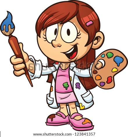 Cartoon Artist Girl Vector Clip Art Stock Vector (Royalty Free) 123841357 - Shutterstock
