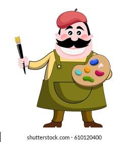 Cartoon Artist Painter isolated