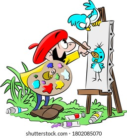 Cartoon artist working on a canvas painting a picture of his blue bird friend vector illustration