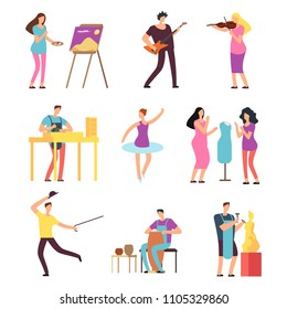 Cartoon artists and musicians vector isolated characters in creative artistic hobbies. People hobby, artistic drawing and playing, amateur painter and sculpture illustration